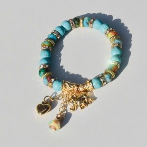 Jewelry - Teal and Gold Elephant Charm Bead Bracelet